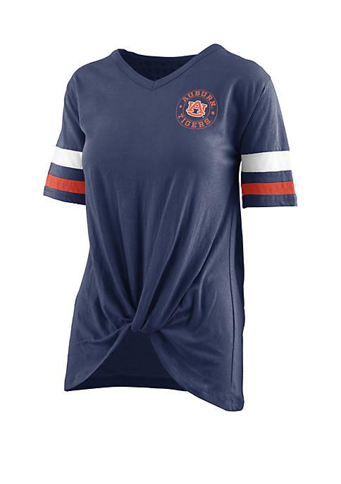 ROYCE Auburn Tigers Twist Front Knot T Shirt