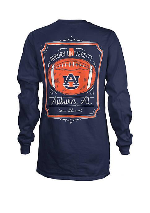 Auburn Tigers Long Sleeve Framed Football T Shirt