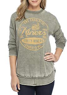 UNCC 49ers Surfer Stamp High-Low Fleece Sweater