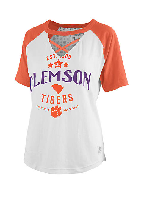 ROYCE Clemson Tigers Cross Neck Baseball T Shirt