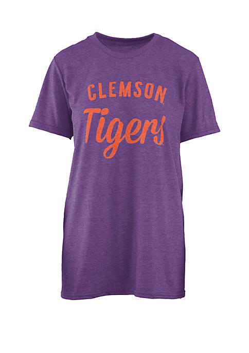 ROYCE Clemson Tigers Trudy Melange Crew T Shirt