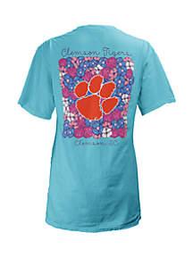 ROYCE Clemson Tigers Floral Bunch Coastal T Shirt
