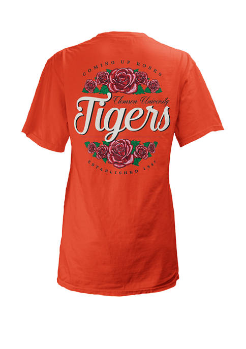 Womens NCAA Clemson Tigers Short Sleeve Coming Up Roses T-Shirt