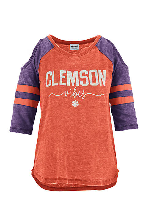 ROYCE Clemson School Vibes Vintage Cold Shoulder Tee