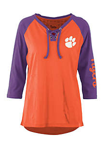 Clemson Tigers Lace Neck 3/4 Sleeve Tee