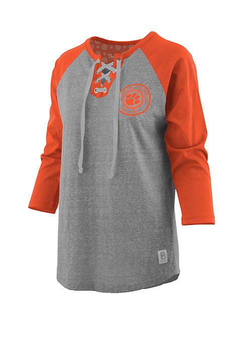 Clemson Tigers True Knobi Lace Up Raglan Sleeve Top
