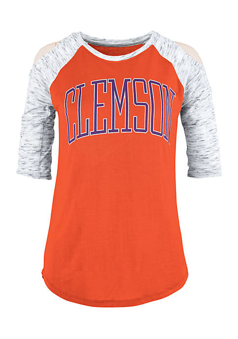 ROYCE Clemson Tigers Bella Lap Cold Shoulder Tee