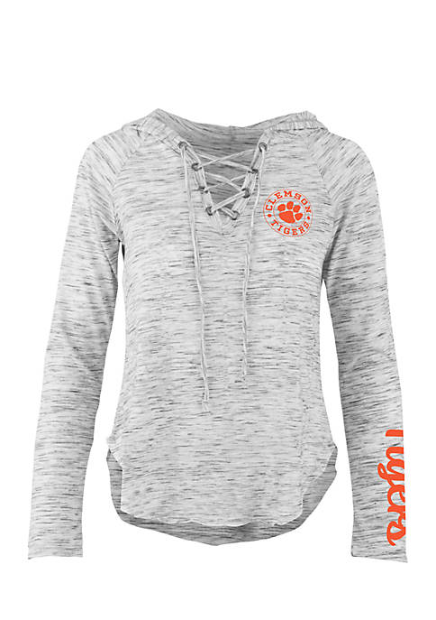 ROYCE Long Sleeve Clemson Kate Lace Neck Hooded