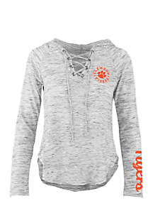 Long Sleeve Clemson Kate Lace Neck Hooded Tee