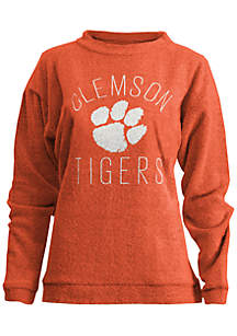 Clemson Tigers Thin Arch Mock Neck Twisted Terry Fleece Pullover