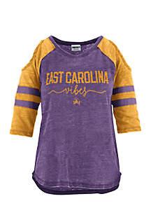 East Carolina University School Vibes Vintage Cold Shoulder Tee