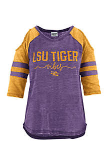 LSU School Vibes Vintage Cold Shoulder Tee