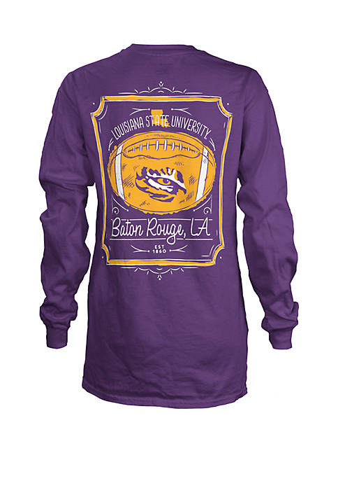 LSU Tigers Long Sleeve Framed Football T Shirt
