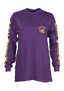 Long Sleeve LSU Mcpherson Crew Neck Pocket Tee