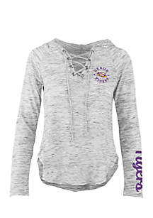 Long Sleeve LSU Kate Lace Neck Hooded Tee