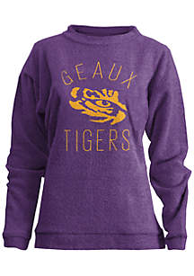 Louisiana State Tigers Thin Arch Mock Neck Twisted Terry Fleece Pullover