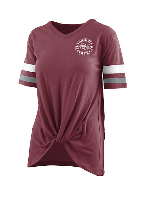 ROYCE Mississippi State Bulldogs Twist Front Knot T