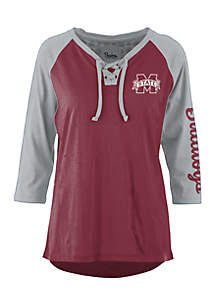 Mississippi State Bulldogs Lace Neck 3/4 Sleeve Tee