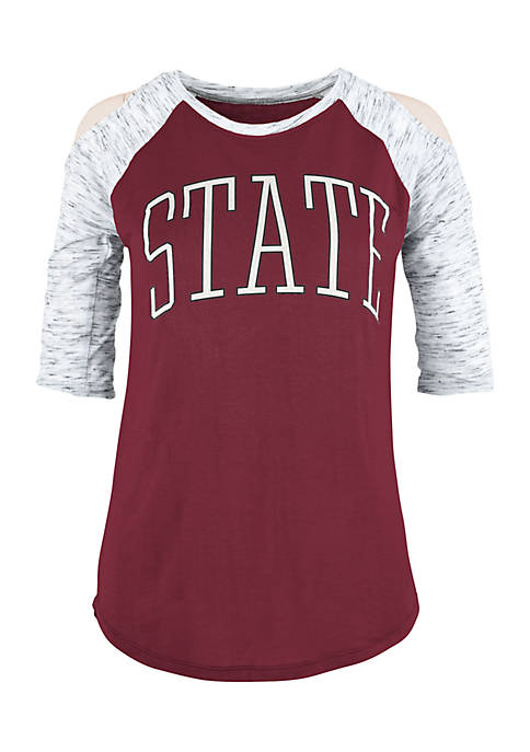 ROYCE Mississippi State Bella Lap Cold Shoulder Tee