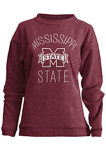 Mississippi State Bulldogs Thin Arch Mock Neck Twisted Terry Fleece Pullover