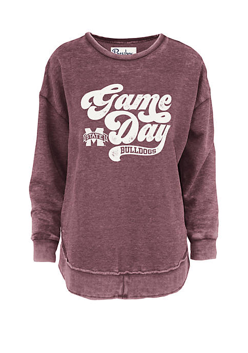 Mississippi State Bulldogs Roxy Script Vintage Wash Fleece Top