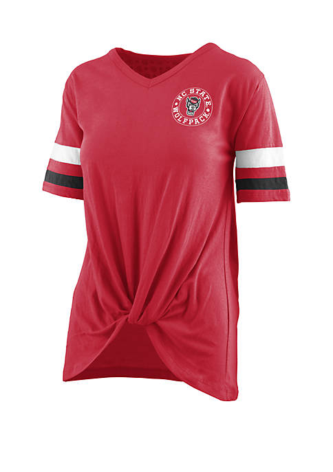 NC State Wolfpack Twist Front Knot T Shirt