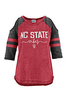 NC State School Vibes Vintage Cold Shoulder Tee