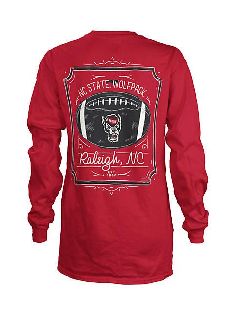 NC State Wolfpack Long Sleeve Framed Football T Shirt