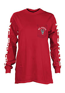 Long Sleeve NC State Mcpherson Crew Neck Pocket Tee