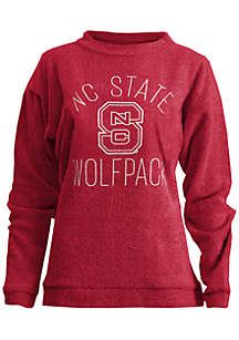 NC State Wolfpack Thin Arch Mock Neck Twisted Terry Fleece Pullover
