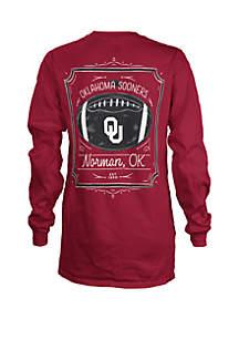 ROYCE Oklahoma Sooners Long Sleeve Framed Football T Shirt
