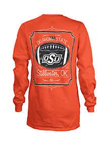 ROYCE Oklahoma State Cowboys Long Sleeve Framed Football T Shirt