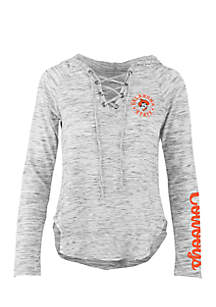 Long Sleeve Oklahoma State Kate Lace Neck Hooded Tee