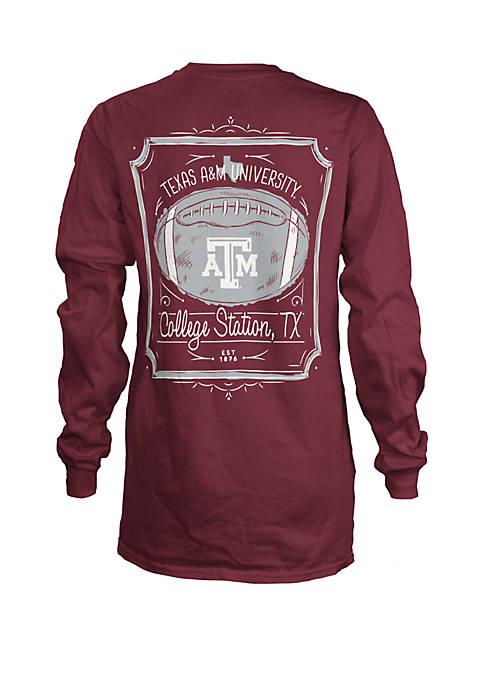 Texas A&M Aggies Long Sleeve Framed Football T Shirt