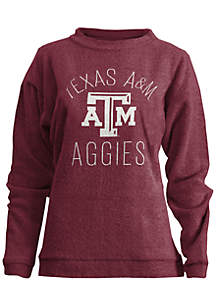 Texas A&M Aggies Thin Arch Mock Neck Twisted Terry Fleece Pullover