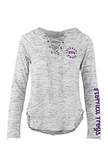Long Sleeve Texas Christian University Kate Lace Neck Hooded Tee