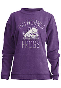 TCU Horned Frogs Thin Arch Mock Neck Twisted Terry Fleece Pullover