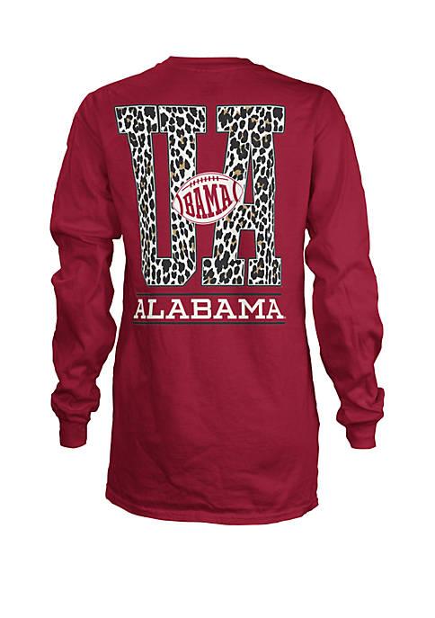 NCAA Alabama Crimson Tide Long Sleeve Britney Leopard T-Shirt
