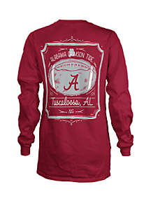 ROYCE Alabama Crimson Tide Long Sleeve Framed Football T Shirt