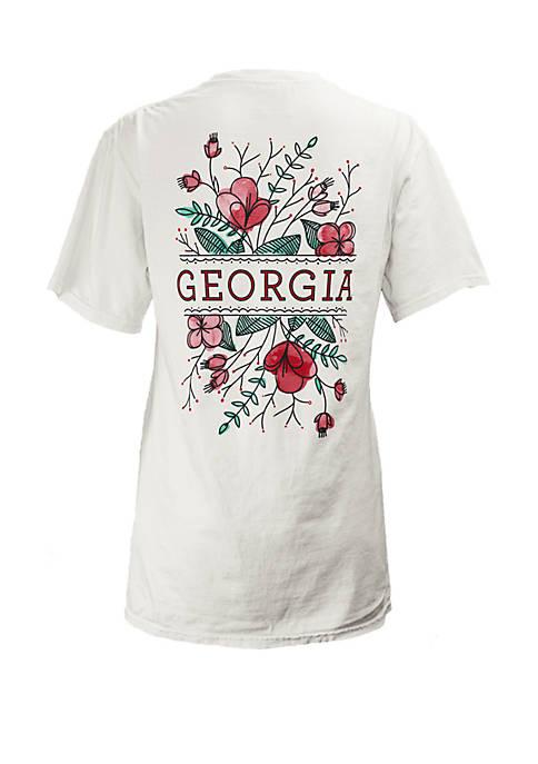 Georgia Bulldogs Short Sleeve Floral T Shirt