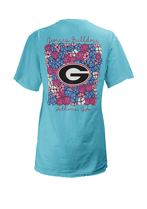 ROYCE Georgia Bulldogs Floral Bunch Coastal T Shirt