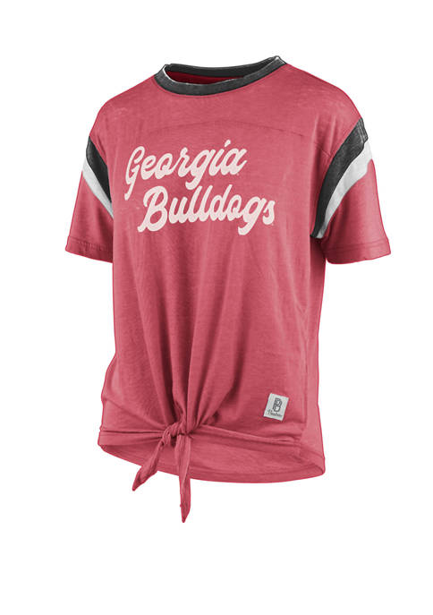 Womens NCAA Georgia Juniper Vintage Tie Front T-Shirt