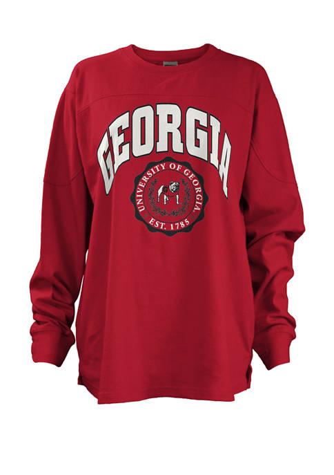 Womens NCAA University of Georgia Long Sleeve Edith Sweeper Graphic T-Shirt