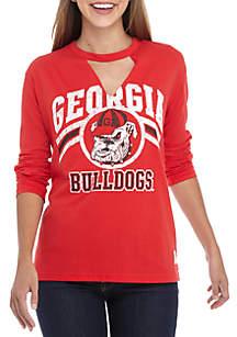UGA Bulldogs Crew Neck Choker Long Sleeve Tee