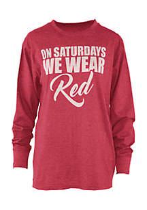 Long Sleeve UGA Saturday Colors Melange Crew Tee