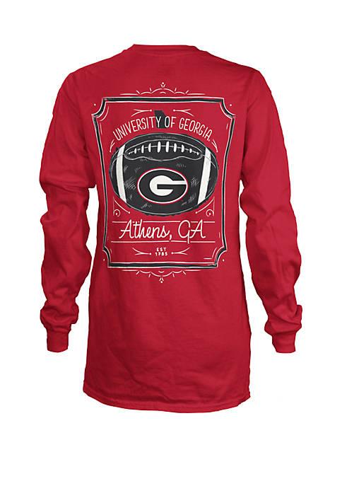 Georgia Bulldogs Long Sleeve Framed Football T Shirt