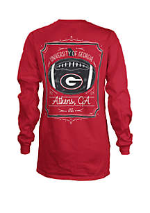 ROYCE Georgia Bulldogs Long Sleeve Framed Football T Shirt