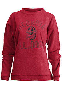 Georgia Bulldogs Thin Arch Mock Neck Twisted Terry Fleece Pullover