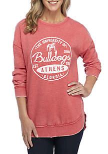 Georgia Bulldogs Surfer Stamp High-Low Fleece Sweater
