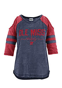 Ole Miss School Vibes Vintage Cold Shoulder Tee